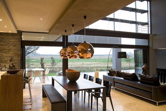 Luxurious interior with expensive modern details of stainless steel