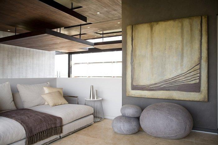 Luxurious lounge area with abstract art on the wall