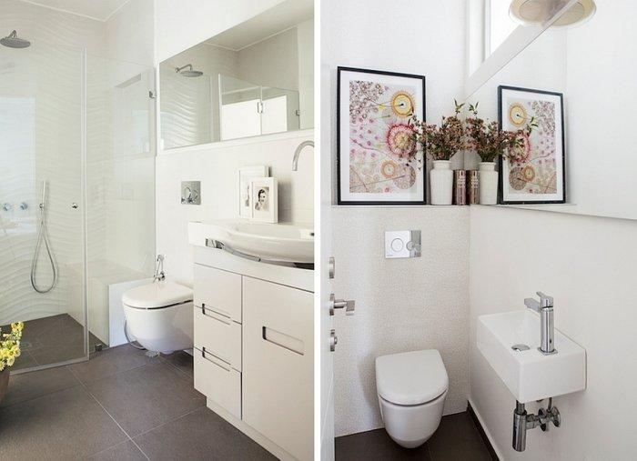Minimalist bathroom in white with abstract wall painting