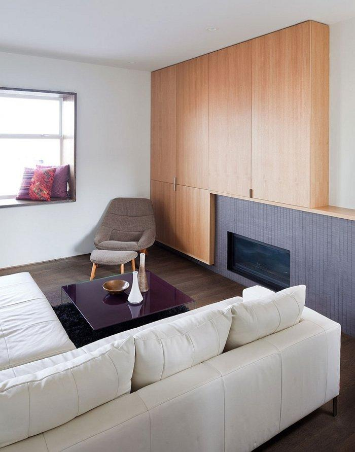 Modern apartment and its living room with fireplace