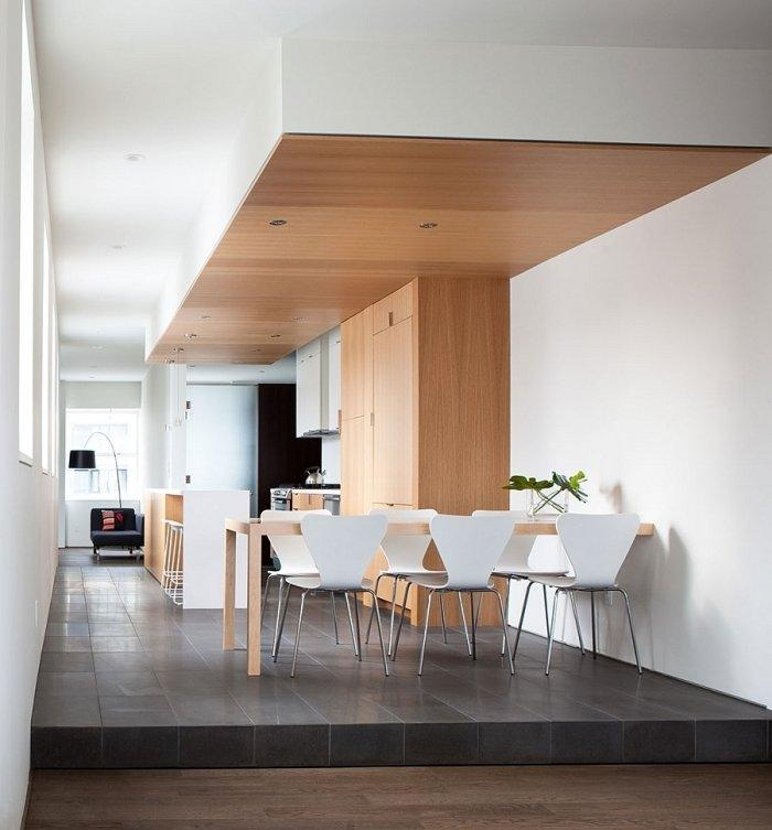 Modern apartment and its open plan dining room and kitchen design