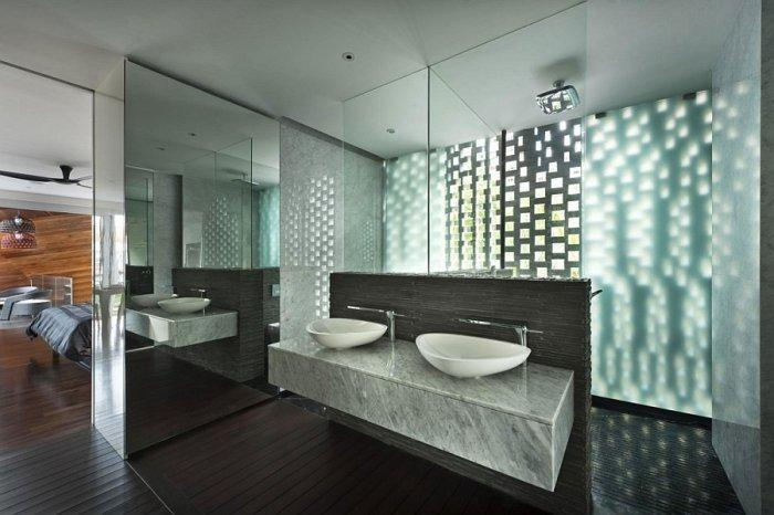 Ultra modern interior in a posh residence in singapore for Ultra modern bathroom designs