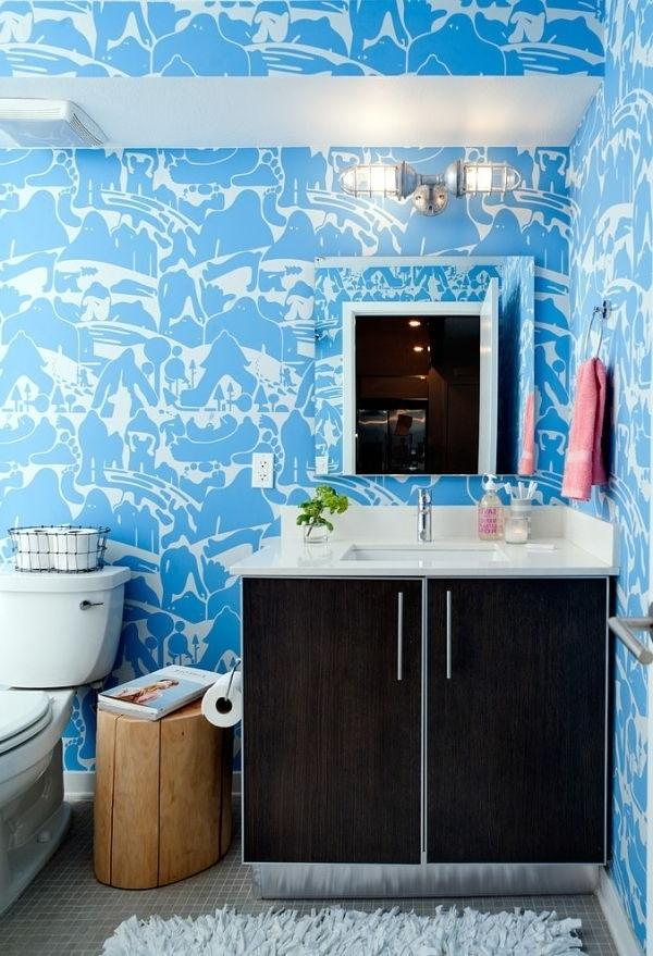Modern bathroom in blue abstract patterned walls