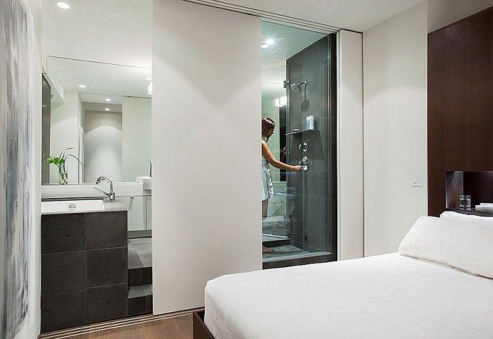 Modern bathroom with white sliding doors for privacy