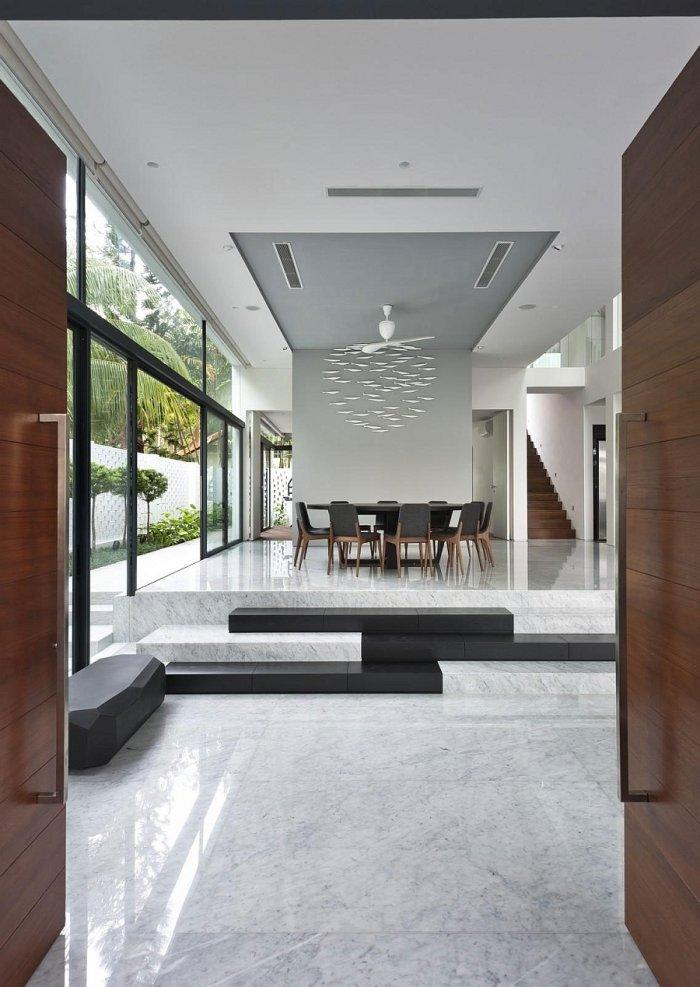 Modern dining room in white with marble floor