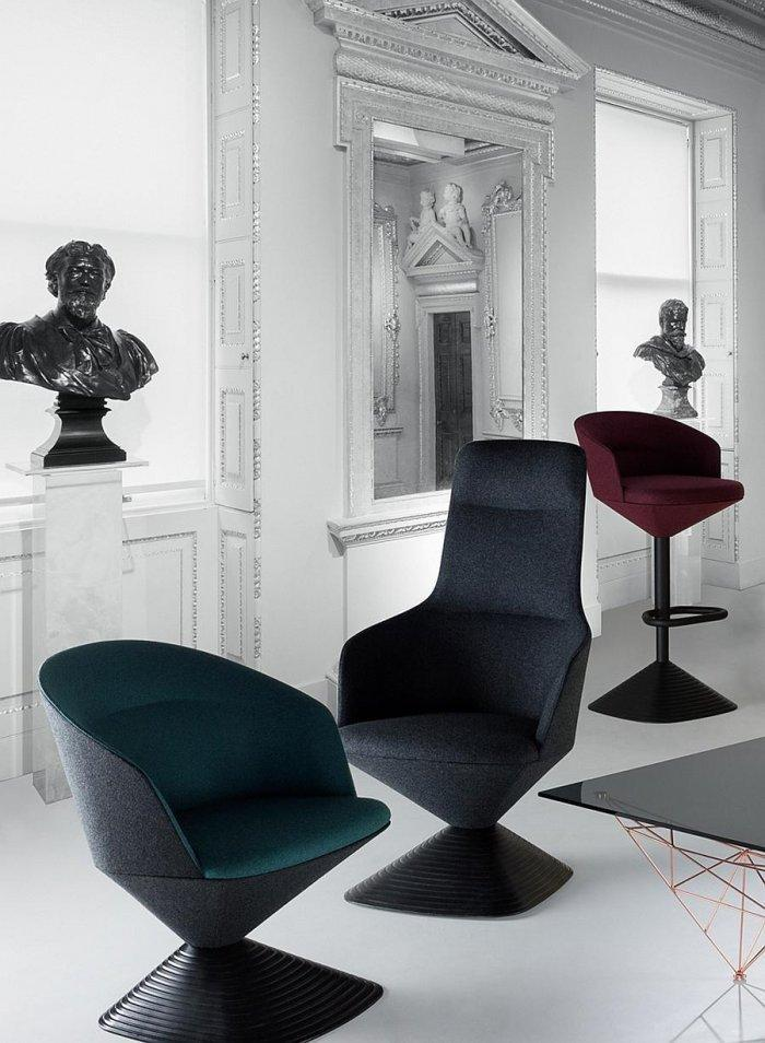 Modern furniture and traditional ornaments in a contemporary concept for a British Gentleman's Club