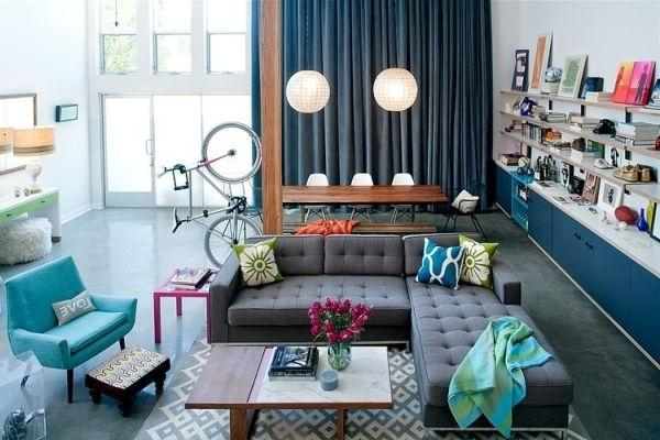 Modern interior with blue accents on the furniture