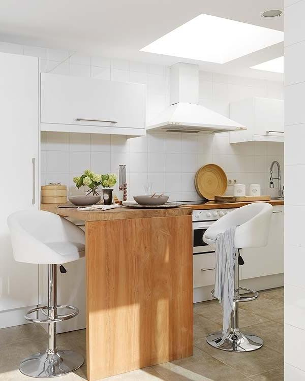 Modern kitchen with wooden broad board and contemporary bar stools