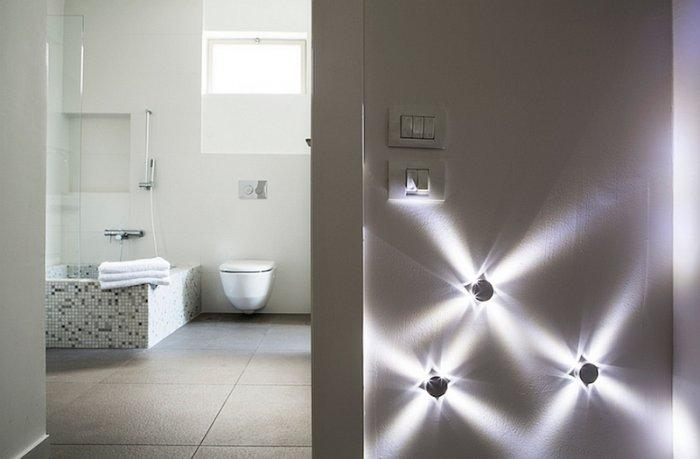 Modern lighting system create abstract light on one of the walls