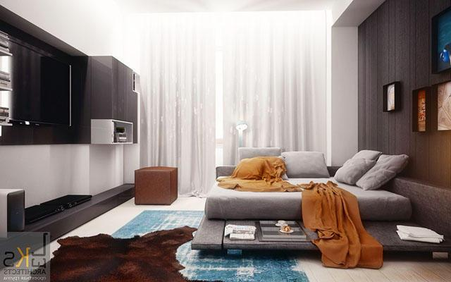 Modern master bedroom in black, white and grey colors