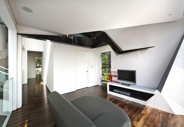 Modern private living room for watching TV with minimalist art on the wall