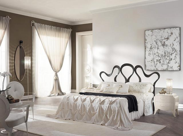 Modern traditional bedroom in cold pale colors and amazing bed