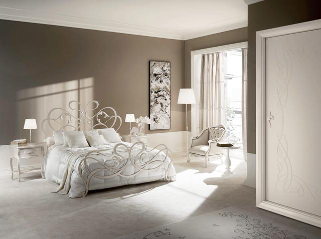 Modern traditional bedroom in pale brown hues and white ceiling