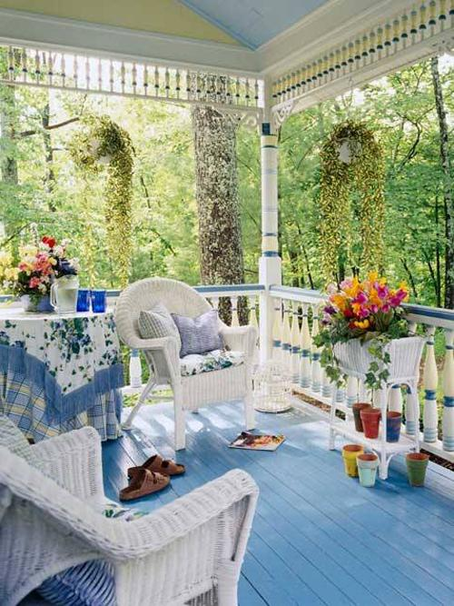 Outdoor dining area in Mediterranean style placed on the front veranda