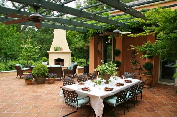 Outdoor dining table prepared for an evening with friends and family