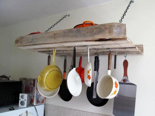 Pallet furniture used in kitchen for hanging kitchenware