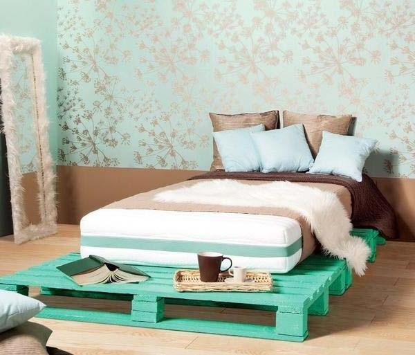 Pallet furniture used in the bedroom as a mattress base