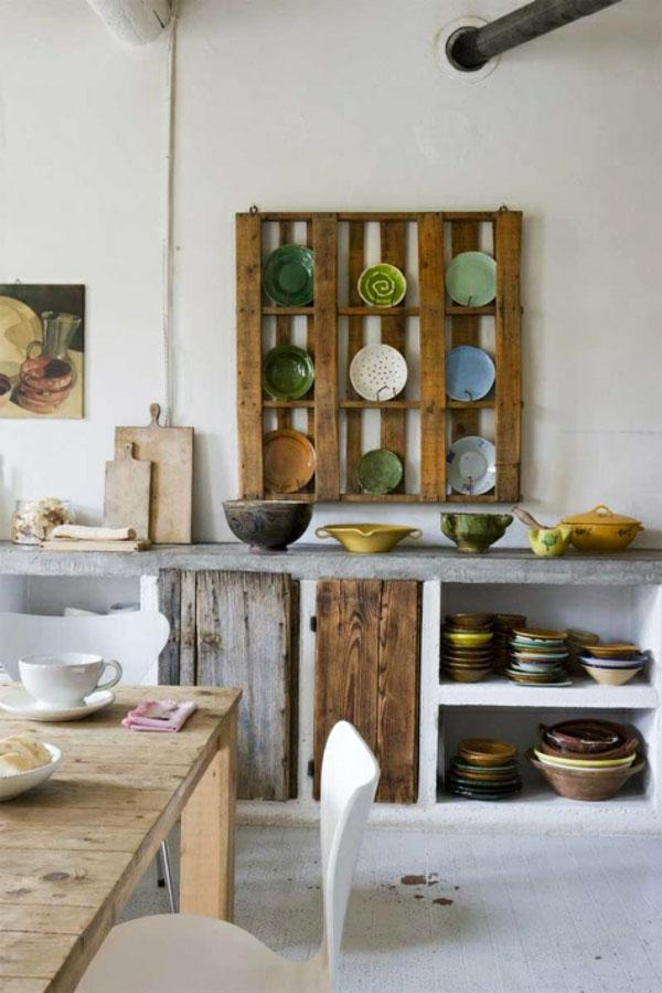 Pallet furniture used in the kitchen for arranging dishes