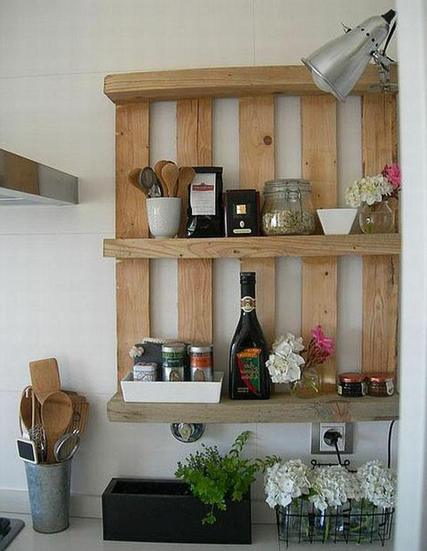 Pallet furniture used in the kitchen for various stuff
