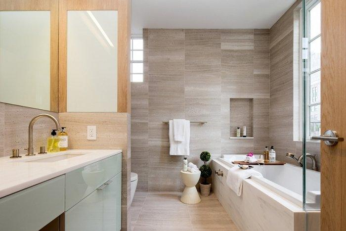 Penthouse bathroom with modern design and small moderate tub