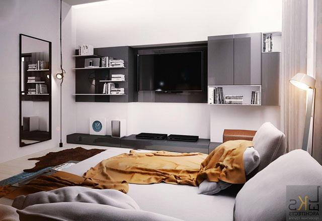 Small bedroom in black and white colors inside a tiny apartment