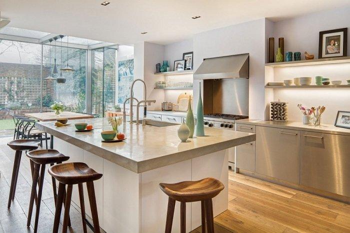 Spacious kitchen in white with huge island