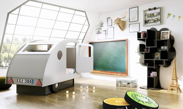 Tent caravana is one of the creative items in the interior of this modern kid's room