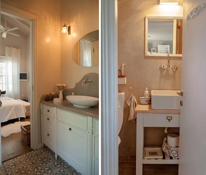 Traditional bathroom design with contemporary elements in white