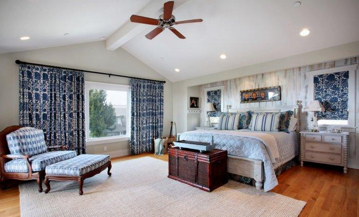 Traditional bedroom interior in a coastal home located in California near the beach