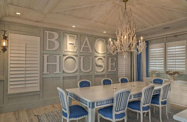 Typography Wall Art - beach house writing in a gorgeous white dining room