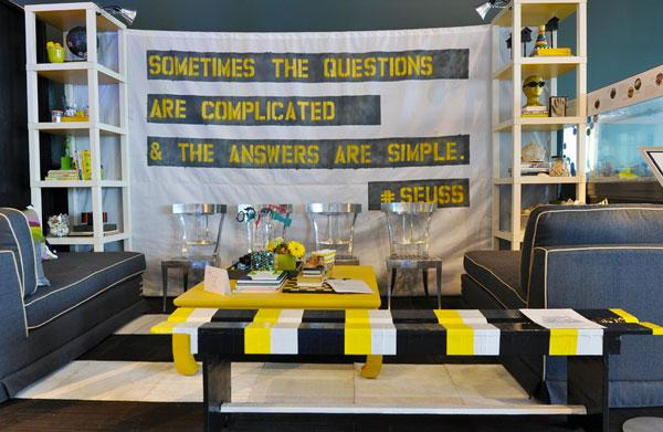 Typography Wall Art - inspirational writing in a living room in grey and yellow