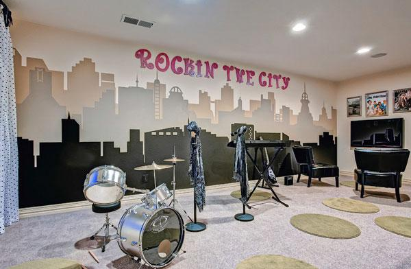 Typography Wall Art - rocking the city writing in a home entertainment room
