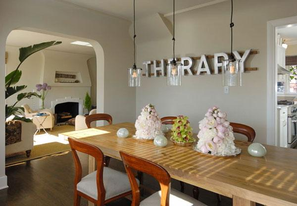 Typography Wall Art - therapy sign in a dining room in white