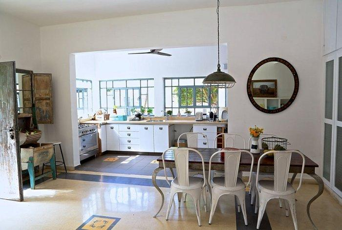 Vintage interior with kitchen and dining areas