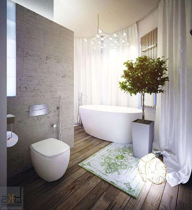 White and grey bathroom in modern, stylish and elegant design