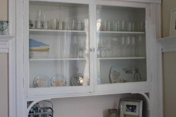 White cupboard in farmhouse chic designer style