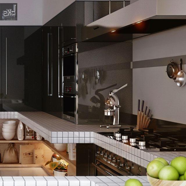 White kitchen broad board and black appliances