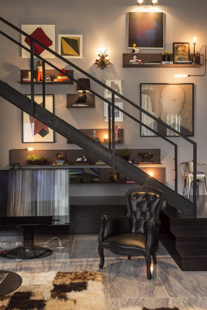 Abstract wall paintings inside a modern luxurious loft in Brazil