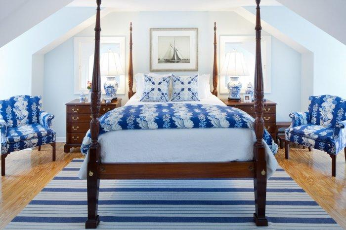 American Bedroom Decorated With Blue Patterned Upholstery And Bed Delectable Blue Patterned Sheets