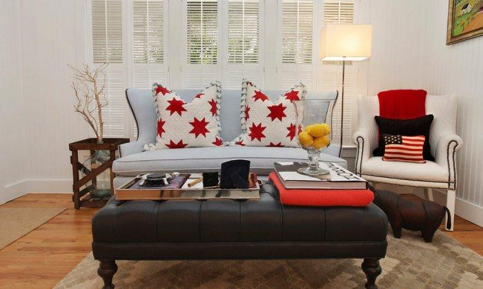 American Flag Used In The Fabrics Of A Small Decorative Pillow