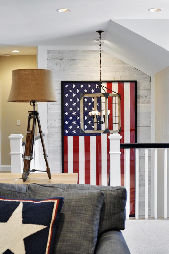 american flag used in the living room as a decorative element