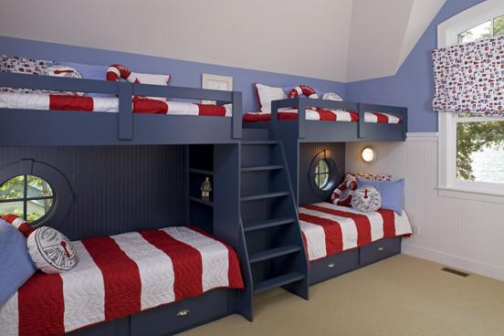 American kid's room in the colors of the USA flag - white, red and blue