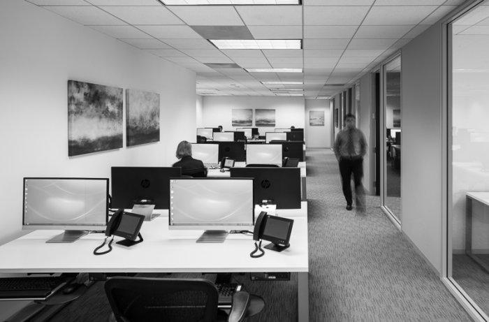 Call center interior with desks for two workers