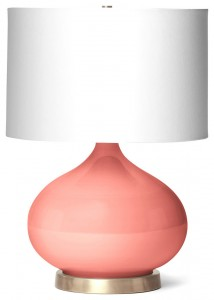 Candace Contemporary Coral Pink Glass Table Lamp for bedside or living room use