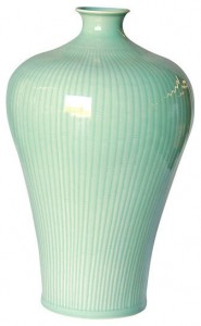 Celadon Carved Bamboo Prunus Vase - perfect for indoor use and home decoration