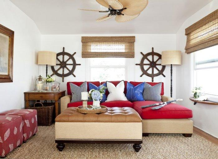 Coastal Home Decorated For 4th Of July In Red White And Blue