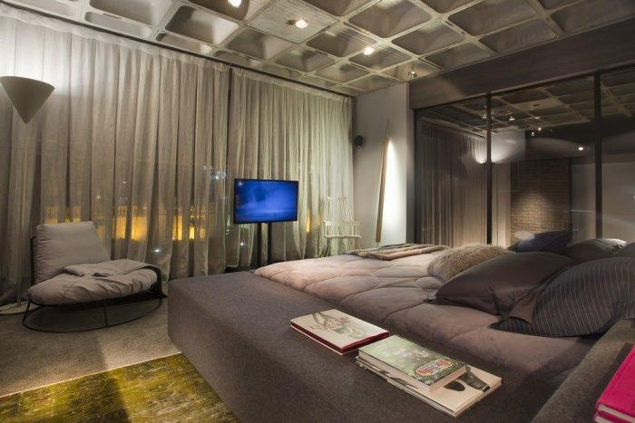Contemporary bedroom in a modern loft located in Brazil