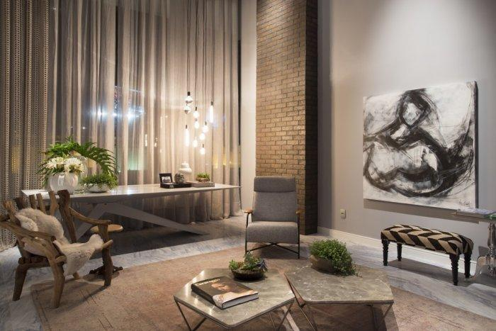Contemporary loft with interesting furniture and abstract wall art