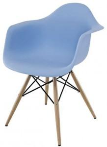 Dining Armchair in Blue with wooden legs in the base