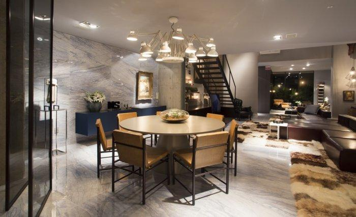Dining area with modern round rable